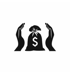 Hands protecting dollar money bag icon vector image