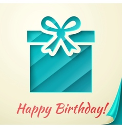 Happy birthday retro card with gift box vector