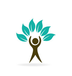 Healthy tree nature leaf man icon vector