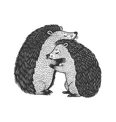 hedgehog love couple hug sketch vector image