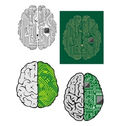Human brain with computer motherboard vector
