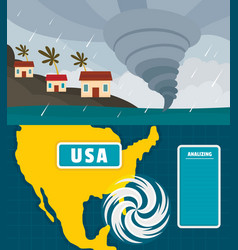 Hurricane storm banner concept set flat style vector