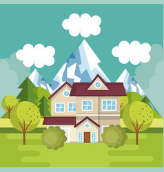 landscape with house scene vector image