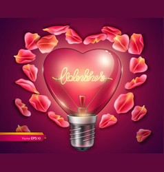 light bulb heart shaped realistic 3d vector image