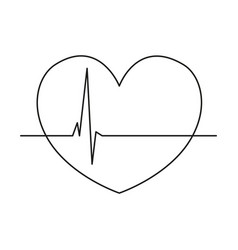 line art black and white healthy heart cardiogram vector image