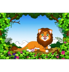 Lion cartoon sitting in the jungle vector