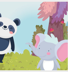 little panda and elephant cartoon character forest vector image