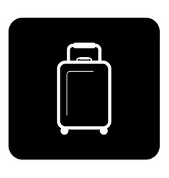 Luggage icon white on black background vector