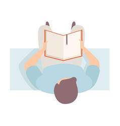 Man reads real book sitting on the bench flat vector