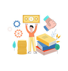 man standing at book pile with banknote vector image