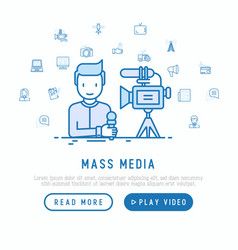 mass media journalist makes reportage vector image