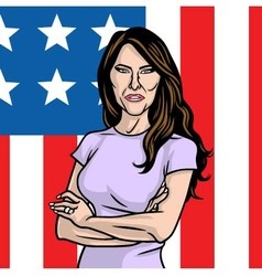 Melania Trump The First Lady on Flag of the US vector image