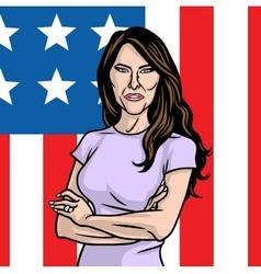 Melania trump the first lady on flag us vector