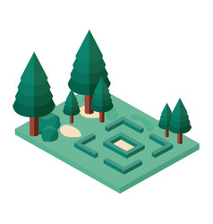 mini forest trees isometric icons vector image