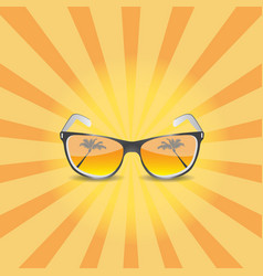Modern sunglasses with palms reflection vector