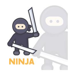 ninja with katana swords in hands vector image
