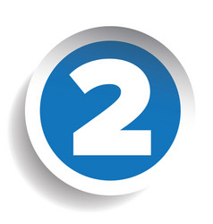 Number Two sticker blue vector image