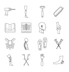 Orthopedics prosthetics icons set outline style vector