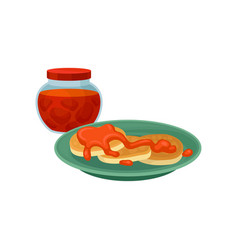 pancakes with sweet topping and glass jar of vector image