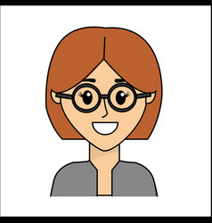 People happy face woman with glasses icon vector
