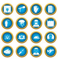 Phobia symbols icons blue circle set vector