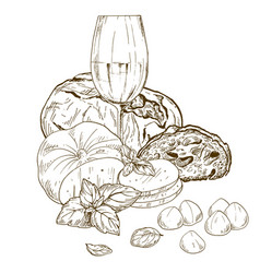 Pile of hand drawn mozzarella cheese and chiabatta vector