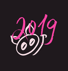 Pink pig snout with 2019 new year lettering vector