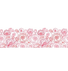 Poppy flowers line art horizontal seamless pattern vector