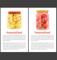 Preserved food posters with fruit or vegetable vector