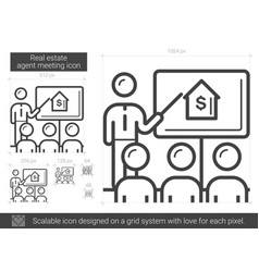 Real estate agent meeting line icon vector