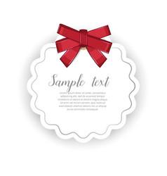 romantic event invitation with ribbon bow vector image