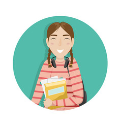 schoolgirl with pigtails is holding books in hand vector image