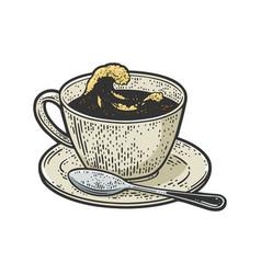 sea storm in cup of tea sketch vector image