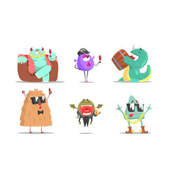 set cute humanized monsters vector image
