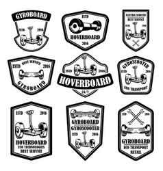 set gyro scooter emblems design elements for vector image
