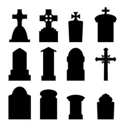 Set of headstone and tombstone in silhouette vector