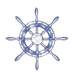 Ship Steering Wheel Hand Draw Sketch vector