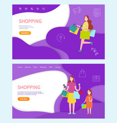 shopping woman buying products on sale discounts vector image