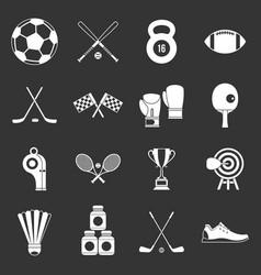 sport equipment icons set grey vector image