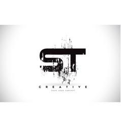 St s t grunge brush letter logo design in black vector