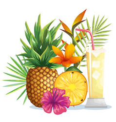 Tropical cocktail with pineapple fruit and vector
