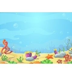 Underwater world blue sea starfish vector image