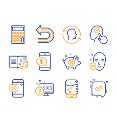 Undo piggy sale and select user icons set face vector