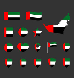 united arab emirates flag icons set national flag vector image