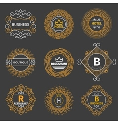 Vintage logos for hotel restaurant vector