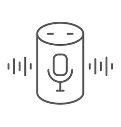 Voice assistant thin line icon technology vector