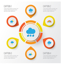 Weather flat icons set collection of drizzles vector