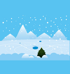 winter landscape mountains frosen lake river ice vector image