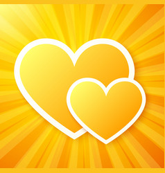 Yellow paper hearts on shining background vector