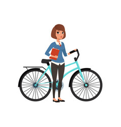 young business woman standing with bicycle and vector image